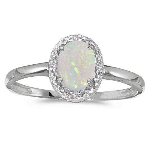 0.25 Carat (ctw) 10k Gold Oval White Opal and Diamond Halo Engagement Promise Fashion Ring (7 x 5 MM)