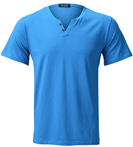 2in 1 Henley - Harrms Short Sleeve T-Shirts Strecthy Casual Cotton Shirts Summer Tee for Men Blue Size 2XL