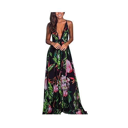 (New in Respctful✿ Women Summer Loose Maxi Party Dress Sexy Deep V-Neck Backless Split Long Dress Hawaiian Spaghetti Strap Green)