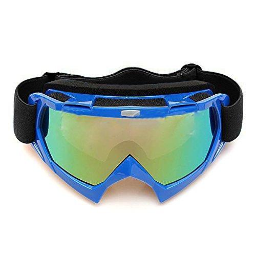 Lunettes de ski - SODIAL(R) Lentille unique motocross goggles lunettes de ATV cross-country dirt velo moto ski bleu