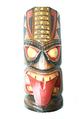 HAND CARVED TONGUE DOTS POLYNESIAN HAWAIIAN TIKI STYLE MASK