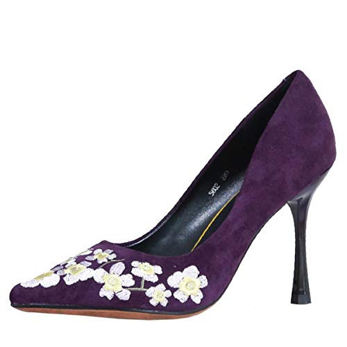Single Thin Women'S Heel Shallow 9Cm Thirty Fine Seven Shoes Heel Violet Shoes Fashion KPHY Suede Autumn Head Shoes Sharp Embroidered High Mouth TqAEO
