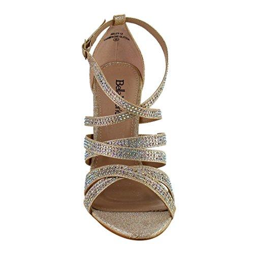 ... Bella Marie Id10 Kvinners Rhinestone Kryss Og Tvers Stropp Stiletto  Kjole Sandal Champagne ...