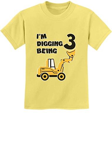 3rd Birthday Bulldozer Construction Party 3 Year Old Boy Toddler Kids T-Shirt Medium Yellow Haze