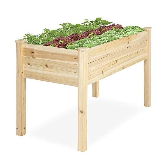Best Choice Products 46x22x30in Raised Wood Planter Garden Bed Box Stand for Backyard, Patio - Natural 1 SPACIOUS GARDENING BED: Designed with a nearly-4-foot-long bed deep enough to ensure your plants can breathe and grow healthy DURABLE COMPOSITION: Made of 0.75-inch-thick, weather-resistant Cedar wood, this bed is built to last through the seasons ERGONOMIC STRUCTURE: Stands 30 inches tall, making it perfect for those who struggle to bend down or lean over while gardening