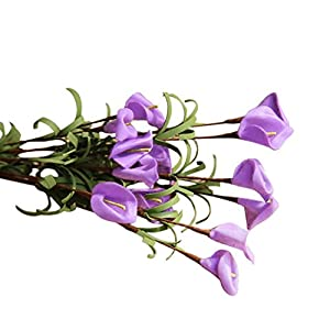 Vacally Artificial Fake Flowers Leaf Calla Lily Floral Wedding Bouquet Birthday Party Home Hotel Office Decor 74