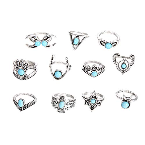 Redvive Top 11PC Exaggerated Turquoise Crescent Owl Ring Joints Refer To Ladies Jewelry