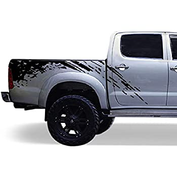 Bubbles Designs Decal Sticker Graphic Bed Splash Mud Kit Compatible with Toyota Hilux 2004-2017 (Black)