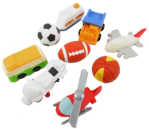 Mini Erasers Take-Apart Choose A Profession Helicopter Motorcycle Bus Dump Truck Airplane Ship Football Soccer Ball Basketball (Pack of 9) (Soccer Ball Helicopter)
