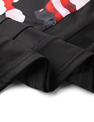 Xmas Longues Ruiyige de pour Robe No Midi Femmes l Type Dress Flared 11 Print Noir Manches rww08Wnq