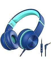 Hoofdtelefoons Kinderen, iClever hoofdtelefoons voor kinderen, volumebegrenzer met microfoon, foldable, 3.5mm Aux nylon kabel, kinderhoofdtelefoons voor iPad, tablet, vliegtuig, school