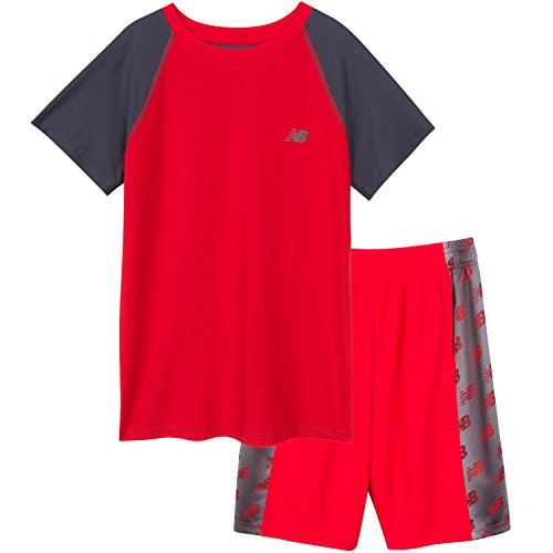 New Balance Boys Little Boys Short Sleeve Performance Colorblock T-Shirt and Short Set Atonic/Thunder, Atomic/White/Thunder