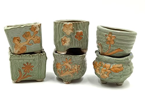 LEANDALE Flower Succulent Cute Plant Pots/Cactus Plant Pot/Herb Pot,Country Rustic Antique Green,Set of 6 (Green) by LEANDALE