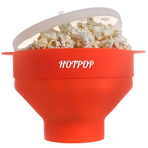 The Original HOTPOP Microwave Popcorn Popper, Silicone Popcorn Maker, Collapsible Bowl BPA Free (Red)