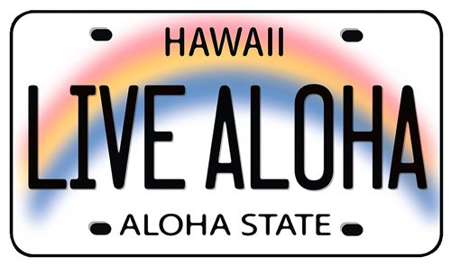 Live aloha hawaii license plate hawaiian art decal car window bumper sticker