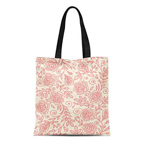 Semtomn Canvas Tote Bag Beige Toile Lace Roses Brown Pattern Floral Flower Pastel Durable Reusable Shopping Shoulder Grocery Bag