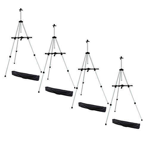 """Ohuhu 4-pack 66"""" Tall Lightweight Aluminum Field Easel - Great for Table-Top or Floor Use - FREE BAG from Ohuhu"""