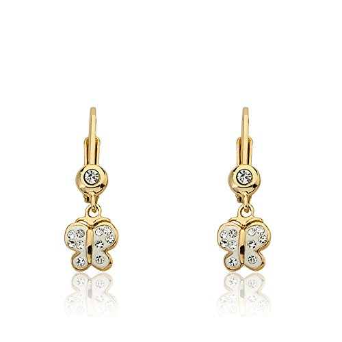 Twins Star Clear Crystal (Molly Glitz Shine Bright 14k Gold-Plated White Butterfly Dangle Leverback Earring With Clear Crystals)