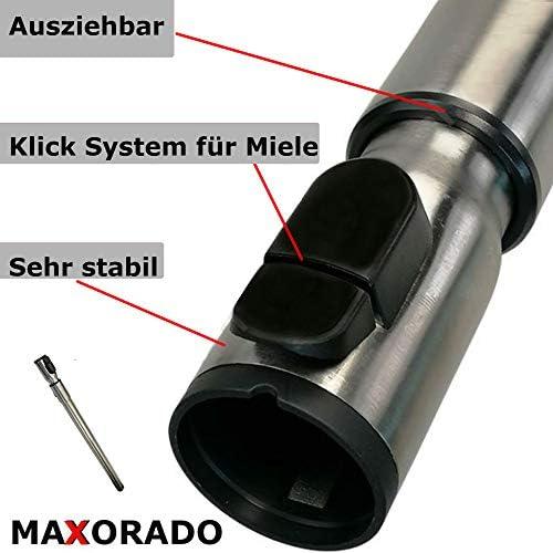 Maxorado Teleskoprohr Staubsauger Staubsaugerrohr Rohr kompatibel mit Miele S 8310 S8310 8390 S8390 EcoSilence 8340 S8340 S8 Ecoline Parquet XL Lotoswei/ß