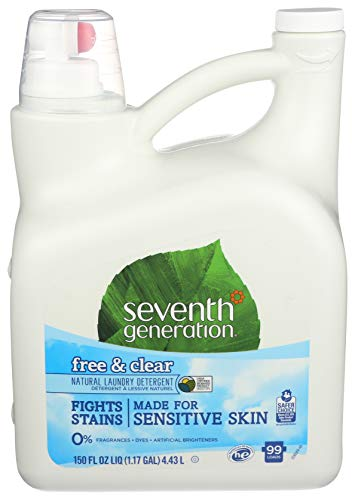 Seventh Generation Liquid Laundry Detergent, Free & Clear, 150 oz, 99 Loads (Packaging May Vary) (Best Organic Laundry Detergent 2019)