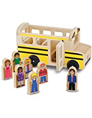 Melissa & Doug Wooden School Bus (Classic Toy Play Set, 7 Play Figures)