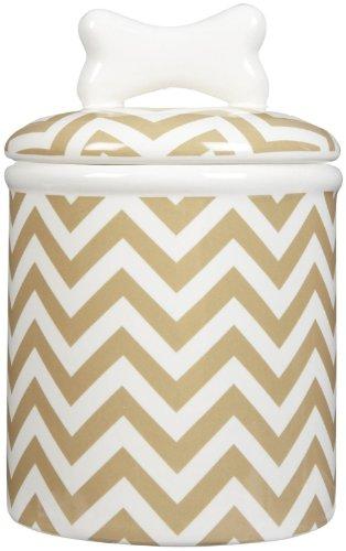 Creature Comforts Chevron Treat Jar - Khaki & White - - Jar Ceramic Treat