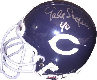 Bears Throwback Mini Helmet (RDB Holdings & Consulting CTBL-020518 Gale Sayers Signed Chicago Bears TB Authentic Riddell Mini Helmet No.40 Left Side Signature - Sayers Hologram)