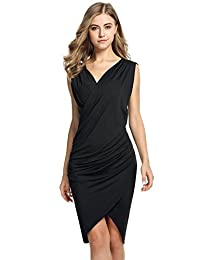 ANGVNS Women's Summer Sexy Sleeveless Fold Bodycon Ruched Dress(Black XL)