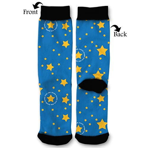 Blue Sky Yellow Twinkle Star Male Mens Youth Boys Teen Kid Quarter Dress Mid Calf Knee Crew Socks Calf Knit Hosiery Themed Clothing Costume Clothes Dresses Apparel Unisex Ankle ()