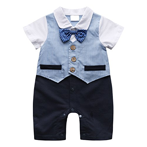 Baby Romper Suits (Baby Boy Suit, Toddler Short Sleeve Rompers Infant Outfit Onesie with Bow tie, 80, Blue)