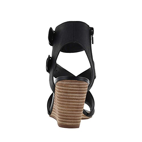 CROWN Vintage Womens Lillee Open Toe Casual Platform Sandals Black c5YEx
