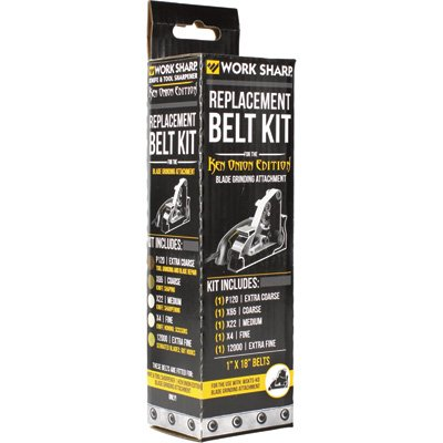 Work Sharp Ken Onion Blade Grinding Attachment Replacement Abrasive Belt Kit - For Use With Item# 45478, Model# - Sharp Work Grinder