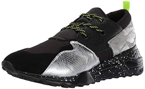 Steve Madden Men's Ridge Sneaker, Black/Silver, 10.5 M - Mens Sneakers Silver