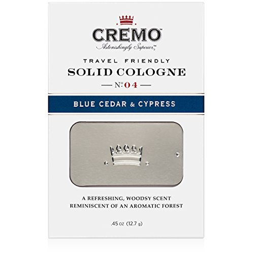 Cremo Solid Cologne That Fits In Your Pocket So You Can Apply Discreetly - Blue Cedar & Cypress.45 Ounce Tin