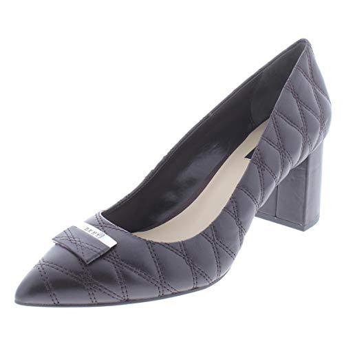 Dkny Womens Leather - DKNY Womens Elia Quilted Leather Block Heels Purple 10 Medium (B,M)