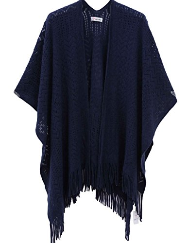 Knit Shawl Wrap for Women - Soul Young Ladies Fringe Knitted Poncho Blanket Cardigan Cape(One Size,Navy) - Cardigan Oversized Wrap