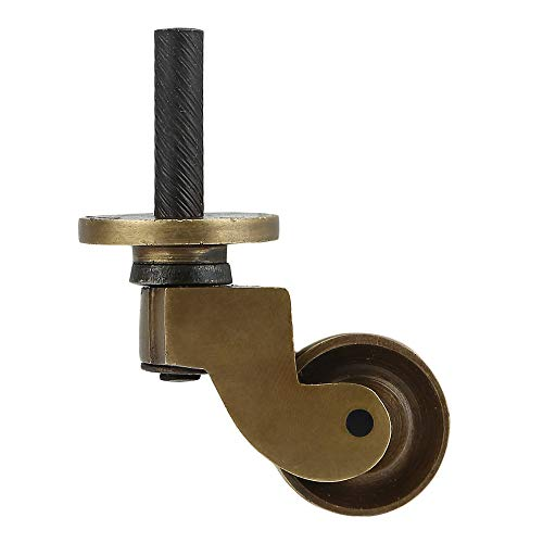 Set of 4 Solid Brass Stem Caster Heavy Duty & Safe for All Floors Perfect Replacement for Floor Mat Caster Wheels for Chairs/Tables/Furniture