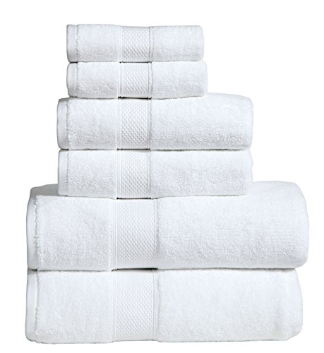 Dream Castle Linens 650 GSM Luxury 6-Piece 100% Long Staple Combed Cotton Bath Towel Set(WHITE); 2 Bath Towels,2 Hand Towels,2 Washcloths,Hotel & Spa Towels,HUDSON,Terry,Soft & Absorbent