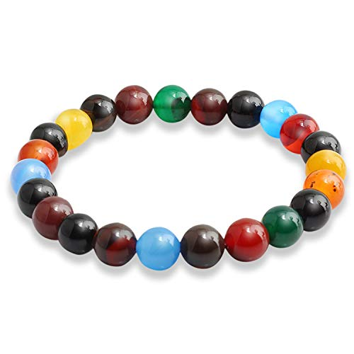 Multicolor Beads Bracelets Natural Lava Tiger Eye Stones Beaded Bangle Jewelry Gifts Fashion Accessories Bracelet For Men Women,8mm Colorful