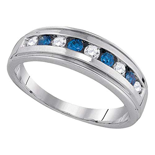 The Diamond Deal 10kt Yellow Gold Womens Round Blue Color Enhanced Diamond Wedding Anniversary Band Ring 1/2 Cttw