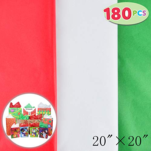 """180 Sheets 20"""" x 20"""" Christmas Tissue Paper Assortment (Red, Green & White); 60 Sheets per Color Easy and Fast Gift Wrapping Accessory for Christmas Gifts and Wine Bottles"""