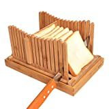 Kinwell Nature Bamboo Foldable Bread Slicer with Crumb Catcher Tray for Homemade Bread & Loaf Cakes, Thickness Adjustable,Thick & Thin Slices 1/3