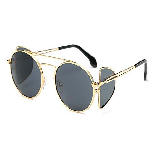 Cadre volant Lunettes Deylaying soleil UV400 et de Décontractée Rond Classique de Grey Mode Homme Miroir Gold Lunettes Au vue Métal Femme vqABw