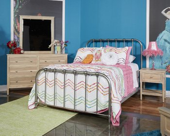 (Ashley Furniture Signature Design - Nashburg Metal Bed - Complete Headboard and Footboard with Rails - Full - Bronze Finish)