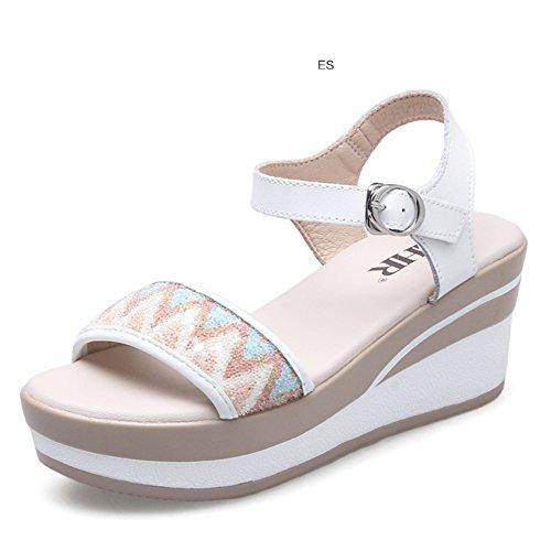 Coréen Chaussures Casual En coins Mot Plate Plat Le Pour A forme Shoes Femme hauts Sandales Été AO5Rzn