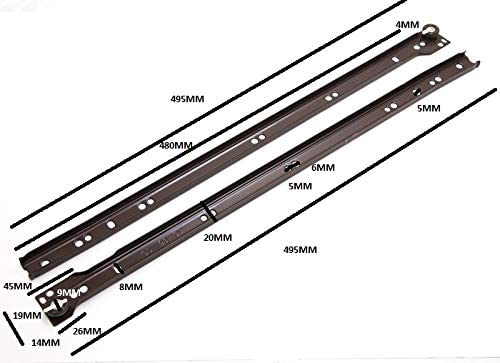 10 PAIRS OF METAL DRAWER RUNNERS SELF CLOSING BOTTOM FIXING BROWN 500MM