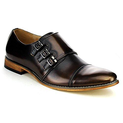 (UV SIGNATURE EA27 Men's Chic Cap Toe Monk Strap Dress Shoes Run Half Size Big, Color:Brass, Size:10.5)