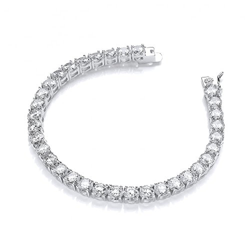 NYC Sterling Women Wonderful 5mm Round Cubic Zirconia Tennis Bracelet, Measures 7.5 Inches