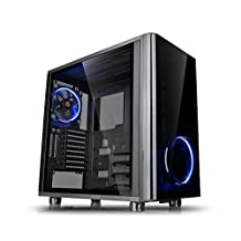 Thermaltake View 31 Dual Tempered Glass SPCC ATX Mid Tower Tt LCS Certified Gaming Computer Case with 2 Blue LED Riing Fan Pre-installed CA-1H8-00M1WN-00