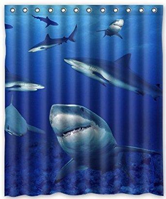 ZHANZZK Shark Waterproof Bathroom Shower Curtain 60x72 Inches (Lovely Lattice Shower Curtain)